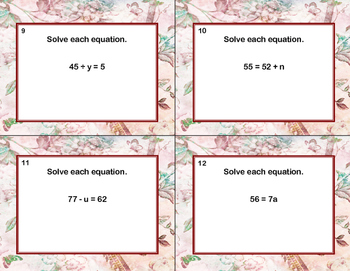 120 Math Task Cards- Solving  Equations Using All Four Operations Grade 6-Spring