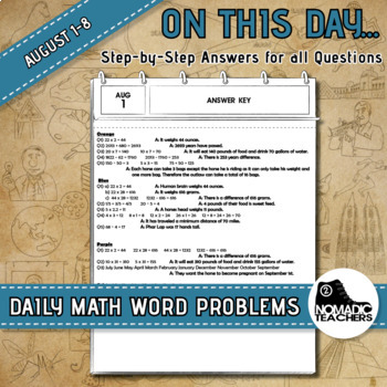 120 Math Word Problems - Aug 1st - 8th