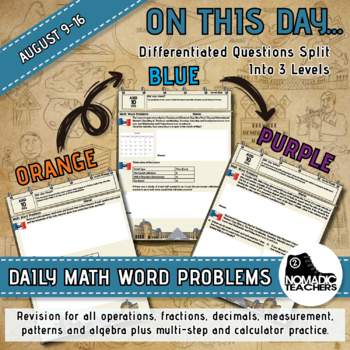 120 Math Word Problems - Aug 9th - 16th