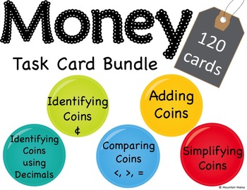 120 Money Math Task Cards Bundle for Centers or Scoot