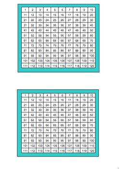 120 Number Chart (extended Hundred chart for First Grade Common Core)