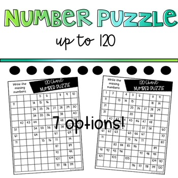 100s Chart up to 120 puzzles