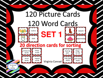 Picture / Word Cards -- 120 of Each PLUS 20 Sorting Direction Cards