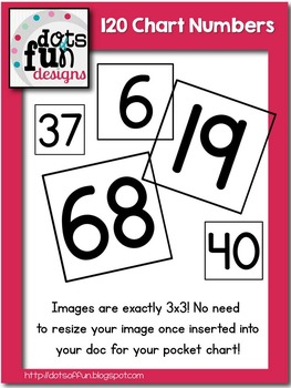 120 Pocket Chart Numbers ~Dots of Fun Designs~