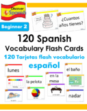 120 Spanish Vocabulary Flash Cards (Beginner 2)