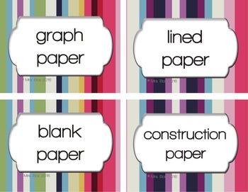120 Striped Classroom Supply Labels with Editable File