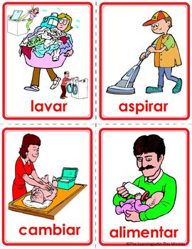 120 Spanish Verb Flash Cards Picture-Word matching cards