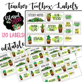 120 Watercolor Cactus & Succulent Teacher Toolbox Labels *editable*