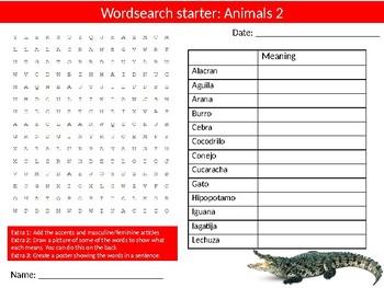 120 x Spanish Vocab Starter Activities Keyword Wordsearch Crossword Homework