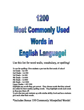 1200 Most Common Used Words in English - Spelling, Word Wall or Vocabulary List