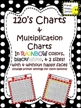 120's Charts & Multiplication Charts (Several Color Choices)