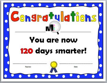 120th Day of School Certificate {120 Days}