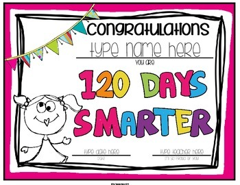 120th Day of School Certificate (Editable)