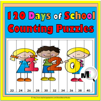 120th Day of School Counting Puzzle Activities - Numbers 1