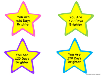 120th Day of School Glow Stick Topper - 120 Days Brighter