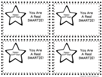 120th Day of School Smartie Card
