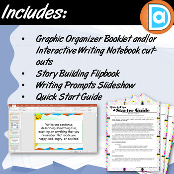 Writers Workshop Bundle | Graphic Organizer, Flip Book, and Writing Prompts