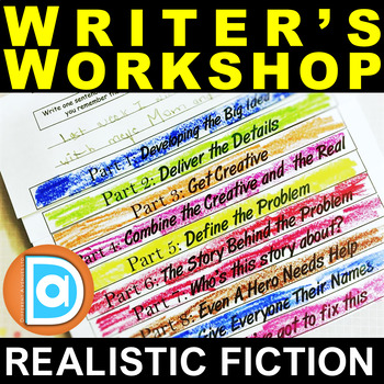 Realistic Fiction Writer's Workshop  |  Graphic Organizer, Flipbook, and Prompts
