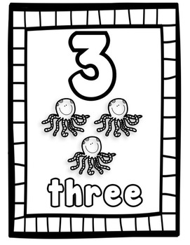 1-10 Coloring Worksheets & Flash Cards B&W (Priscilla Beth @DaycareSupport