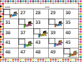 """Missing Numbers """"Counting"""" (Math Activities)"""