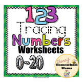 123 Tracing Numbers Worksheets 0 to 20 - Print and Go