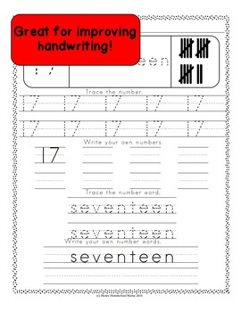 123 Writing Numbers and Number Words Worksheets 0 to 20