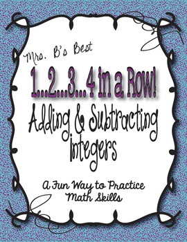 1...2...3...4 in a Row Math Game!  Adding & Subtracting Integers