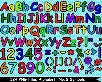 124 PNG Files Colorful Alphabet, Numbers & Symbols - Clipart- 300 dpi 071