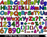 124 PNG Files Colorful Alphabet, Numbers & Symbols - Clipa
