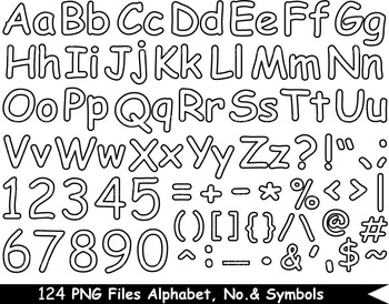 124 PNG Files Outline Alphabet, Numbers & Symbols - Clip Art- 300 dpi 072
