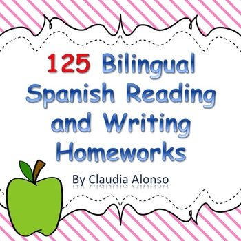 Homework: 125 Bilingual Spanish Reading/Writing Homeworks for Kindergarten