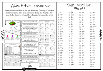 Sight Word Reading & Writing Mats - Guided level