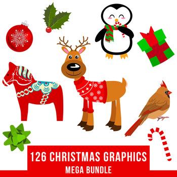 Christmas Holiday Clipart.126 Christmas Clipart Mega Bundle Winter Clipart Kit Holiday Clipart Pack