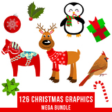 126 Christmas Clipart Mega Bundle, Winter Clipart Kit, Hol