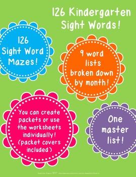 126 Kindergarten Sight Words Mazes!