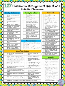 127 Classroom Management Questions {FREEBIE}