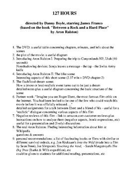 127 HOURS - film analysis - James Franco -Danny Boyle