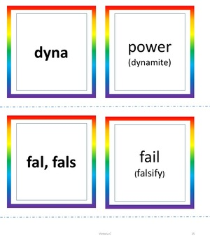 128 Cards Latin Roots Etymology Cards for Games, Centers, or Review