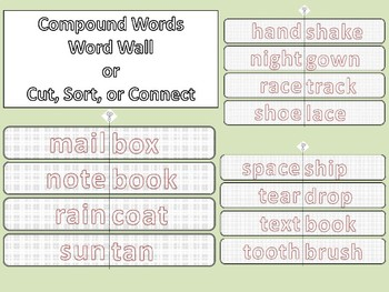 SPELLING Over 100 Compound Words Journal Literacy Center Groups Matching Game