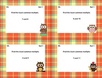 128 Math Task Cards Review  LCM's and GCF's- Plaid Theme
