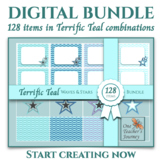 128 Terrific Teal BUNDLE for Backgrounds, Frames and Stars