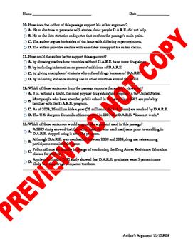 12th Grade CCSS Author's Argument Assessment Bank
