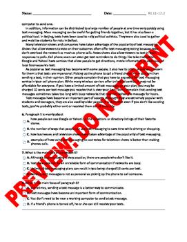 12th Grade Main Idea Assessment