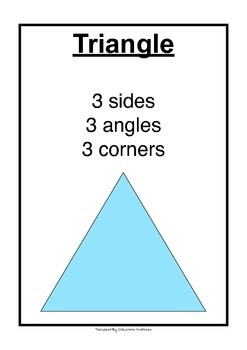 12x 2D Shape A4 Posters for primary aged children