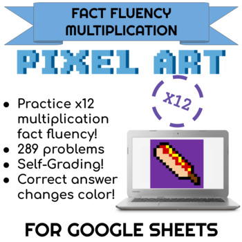 12x Multiplication Pixel Art! Digital Practice for Math Facts with Secret Reveal