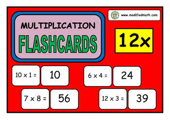 12x Times Table Flashcards