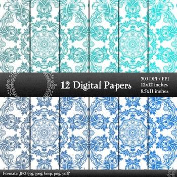 12x12 + 8.5x11 Inch Scrapbooking Vintage Clip Kit Jpg Sheet Background Ornate A4