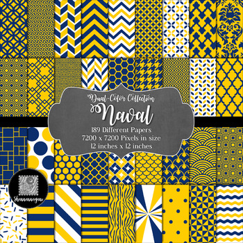 12x12 Digital Paper - Dual-Color Collection: Naval