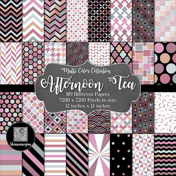 12x12 Digital Paper - Multi-Color Collection: Afternoon Tea