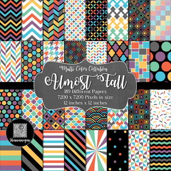 12x12 Digital Paper - Multi-Color Collection: Almost Fall